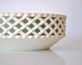 Vintage Serving Dish - White and Green Bowl