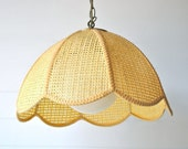 Vintage hanging light, swag, rattan, lotus, straw yellow - ETSY Front Page Item