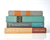 Vintage book collection in Earth tones