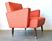 Mid century coral arm chair - Etsy Front Page Item