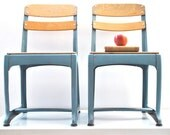 Mid Century School Chairs - metal and wood - Industrial style grey blue - Etsy Front Page Item