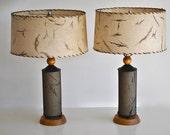 Mid Century Lamp Pair with Fiberglass shades