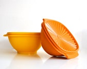 Vintage Servalier Tupperware - Bright yellow and orange