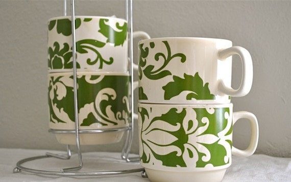 Vintage mugs with stand - green floral retro