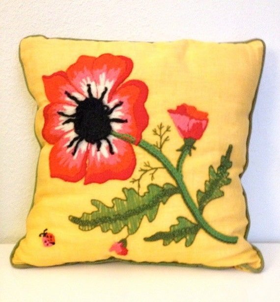 spring floral pillow - bright yellow red green black ladybug poppy embroidery crewel