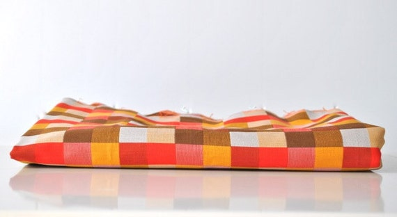 Checkered vintage fabric color block red orange yellow white gold brown melon
