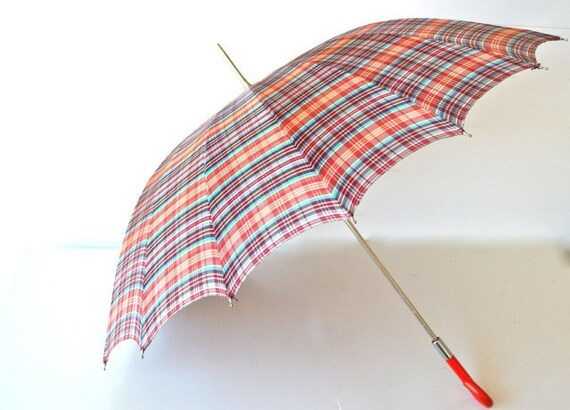 Vintage umbrella plaid bright red handle blue grey black red yellow pattern