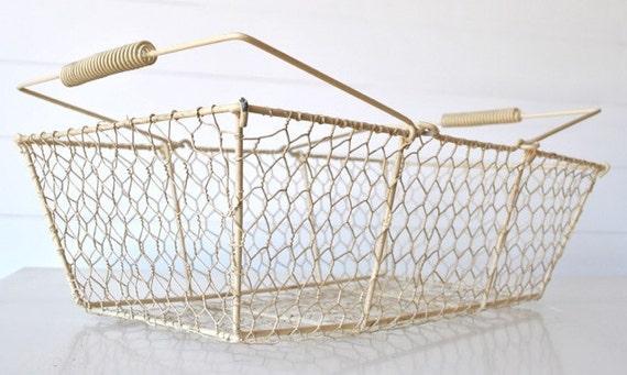 Rustic ivory cream wire basket