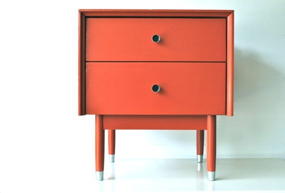 Mid century side table with drawers dark coral