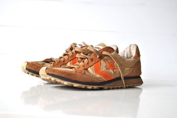 Retro converse sneakers in camel brown and orange tennis shoes gift for him