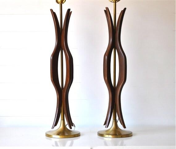 Mid Century Lamp pair, wood and brass, Danish, Mad Men, Atomic, Modern