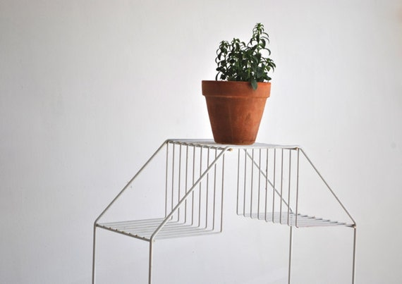 White Mid Century Plant Stand