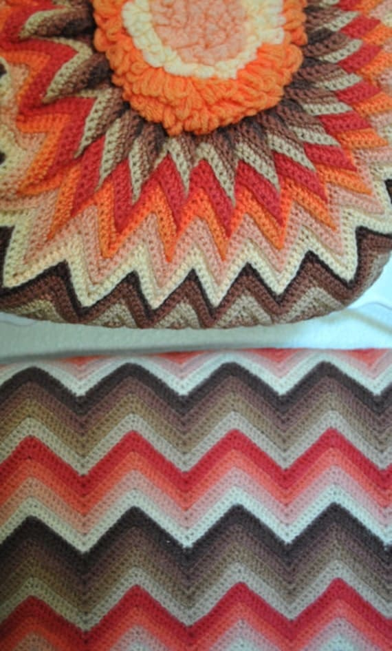 Pink, coral and brown vintage chevron afghan and pillow