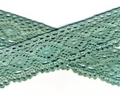 Light Evergreen Hand-Dyed Cotton Lace Edging,  31262