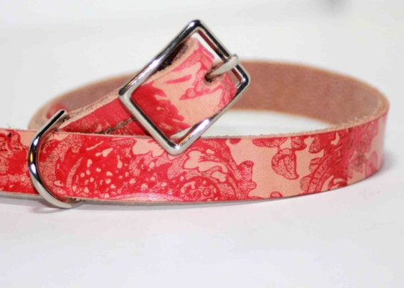 Leather Dog Collar with Floral Red Abstract