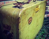 Mid Century Vintage Amelia Earhart Green Luggage with Travel Stickers - GreenDoorTradingCo