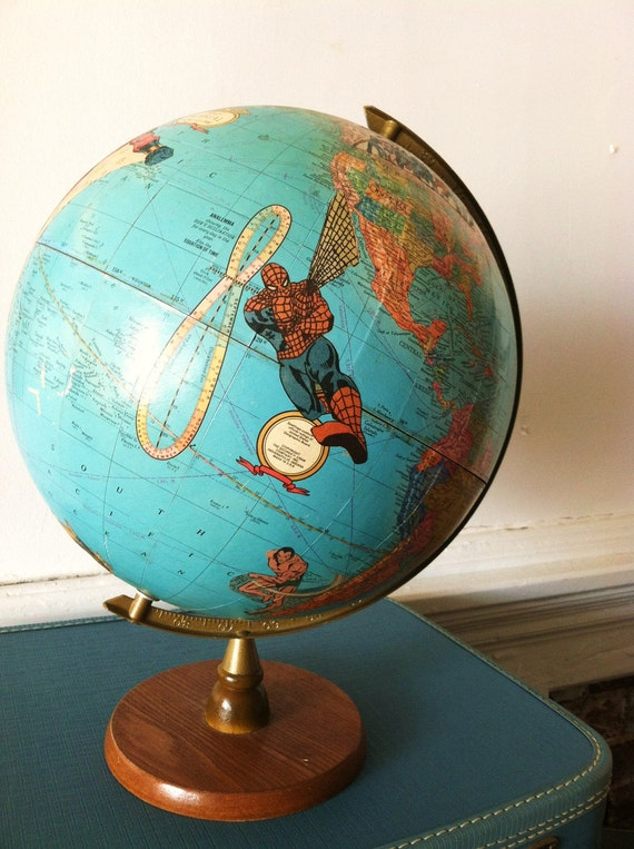 Vintage Superhero Globe. Custom Handcrafted Comic World Map. Marvel/DC.
