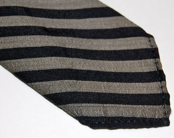 Grey and Black Striped Skinny Necktie
