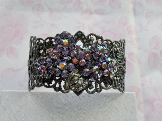 Women's Lavender  Bracelet Recycled From Vintage Jewelry