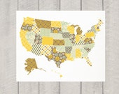 United States Map Art - Large -  Nursery art - 16x20