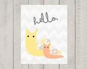 Nursery Art Print - Hello Snail - 8x10