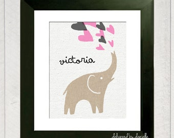 Nursery Art Print - Elephant Hearts