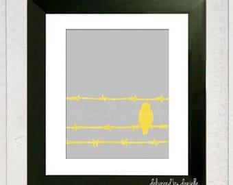 Bird Art Print - Bird Silhouette - 8x10