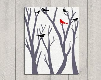 Cardinal Art Print - Bird Art - 11x14
