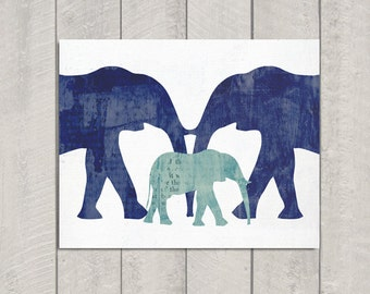 Elephant Nursery Art Print - 8x10