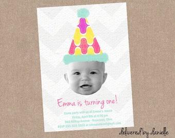 1st Birthday Invitation - Custom - Printable
