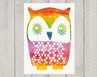 Nursery Art Print - Rainbow Owl - 8x10