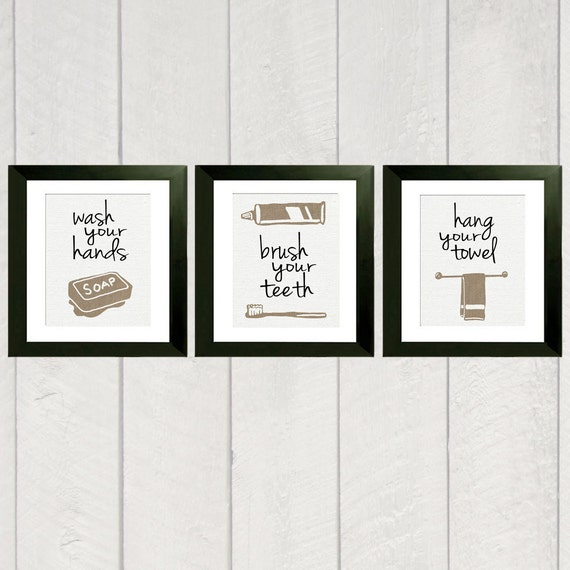 Bathroom art print set of 3 for Bathroom decor etsy