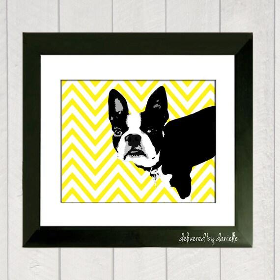 Boston Terrier Art Print - Chevron
