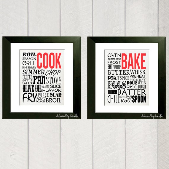 Kitchen Art Print - Cook and Bake Typography - 8x10