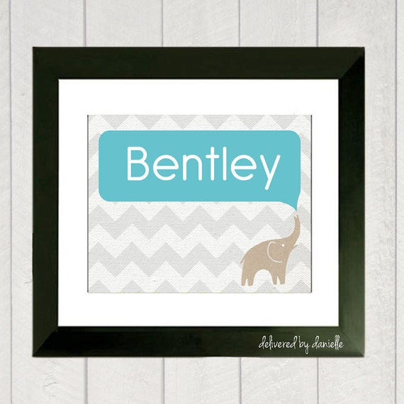 Nursery Art Print - Baby Boy Name - Elephant