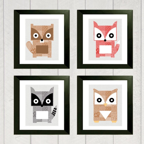 Woodland Nursery Art Print Set - Beaver, Fox, Raccoon, Owl - 5x7