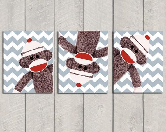 Nursery Art Print Set - Sock Monkey