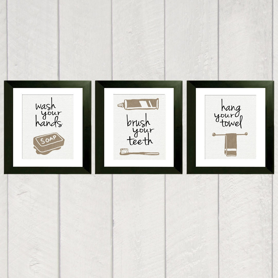 Bathroom art print set of 3 for Bathroom designs drawing