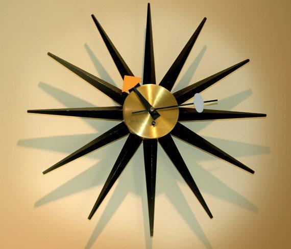 Vintage George Nelson Sunburst Clock Original Key wound 1950
