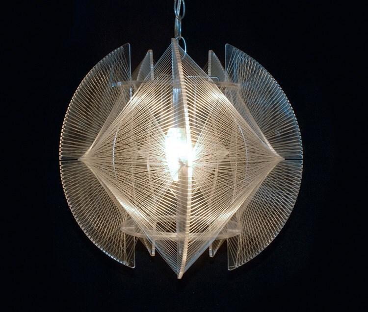 Mid Century Modern Hanging String Lamp Naum Gabo Inspired