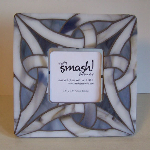 "RESERVED Mosaic Picture Frame - ""Celtic Knot Neutral"""