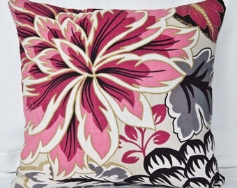 Cushion Cover Floral - 40cm Red Black Grey - Made in the UK
