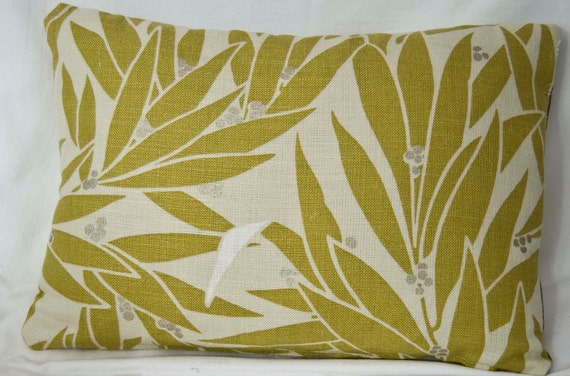 Handmade Lumbar Throw Pillow/Cushion Cover in Harlequin Green Leaves Retro Style Fabric Front and Striped back