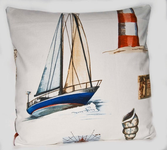 Nautical Cushion Cover - Coastal throw pillow cover - Sailing Cushion - Size 16ins - Made in the UK