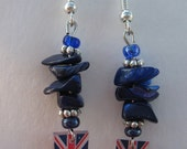 Great Britain Flag Beaded Stone Dangle Earrings