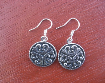Pewter Button Dangle Earrings from Norway Tele