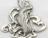 Vintage Art Nouveau Pendant 925 Sterling Silver Lady Venus Fairy 1970's