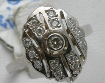 14k white gold diamond ring Vintage Reproduction 1/3 ct bezel oval Art Deco Style