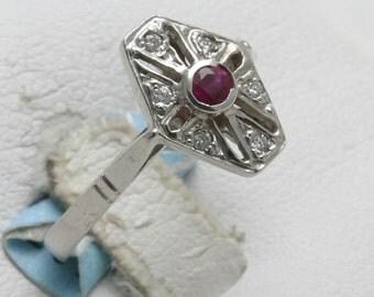 Vintage 14k white gold Ruby Diamond Ring Victorian hexagon Red