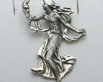 Vintage 925 Sterling Silver Art Nouveau Fairy Pendant Lady 1970's